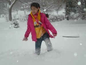 Stomping through the snow