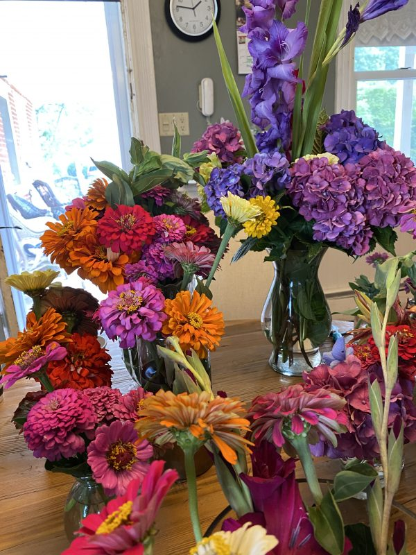 vases full of Riotous flowers with brilliant colors
