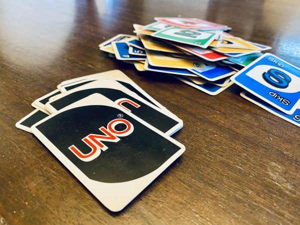 UNO Cards n stacks on table