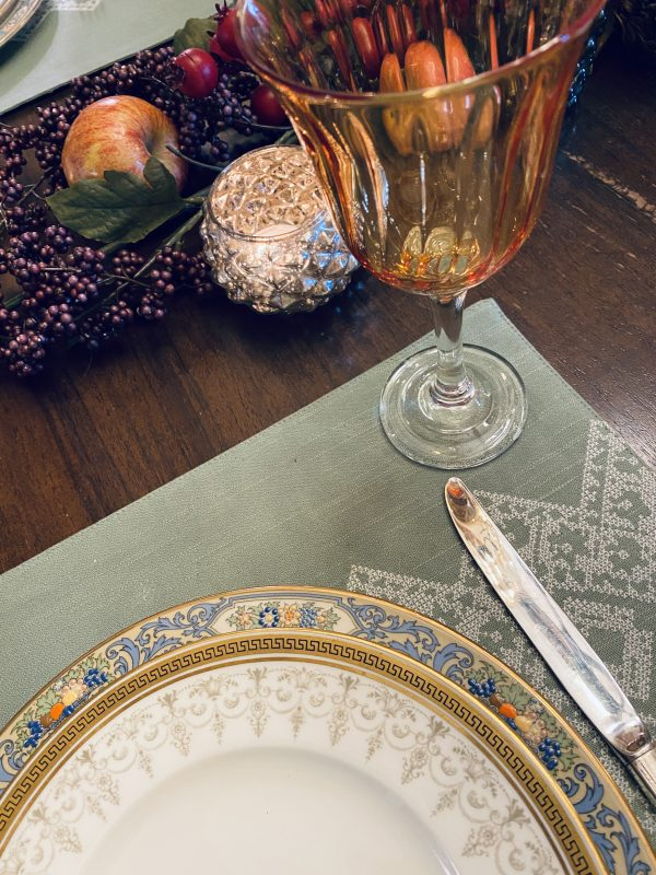 Sage Placemats for placesetting with china and silver