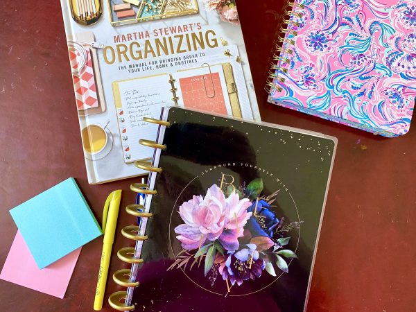 Planning Tools planners, post it notes, pen and highlighter, Martha Stewart's Organizing