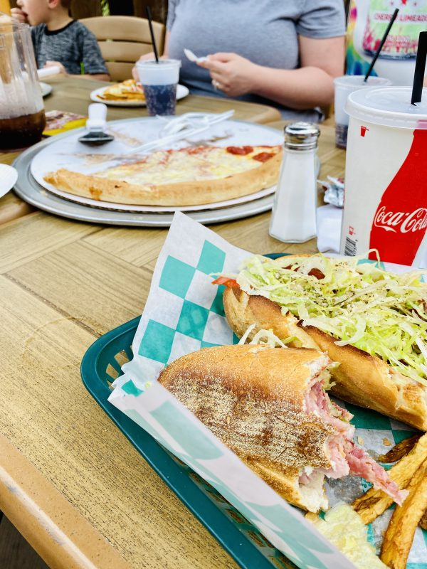 Lunch at Hot Z's on the Patio with soft drinks, pizza and sub