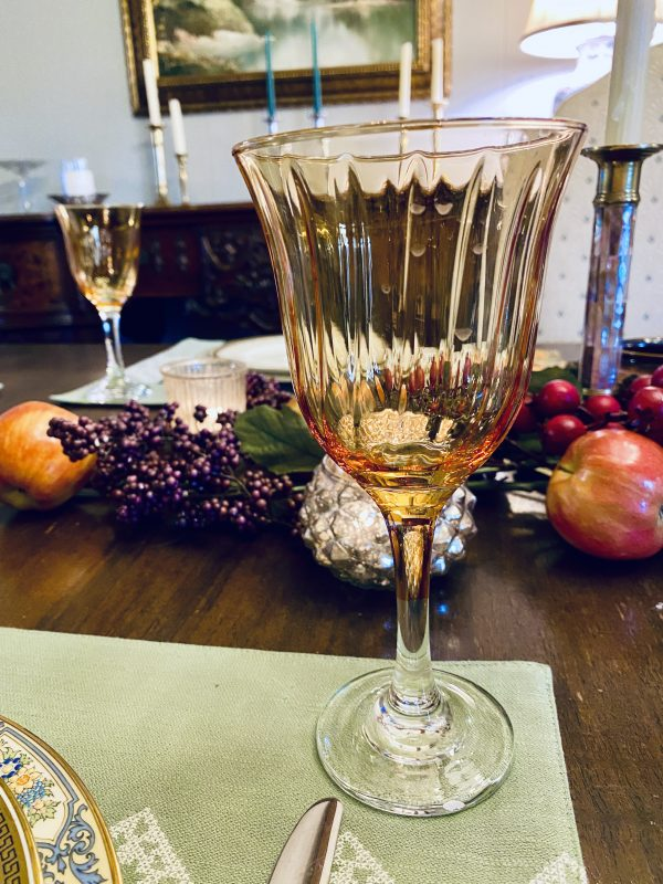 fall tablescape centerpiece with amber goblet