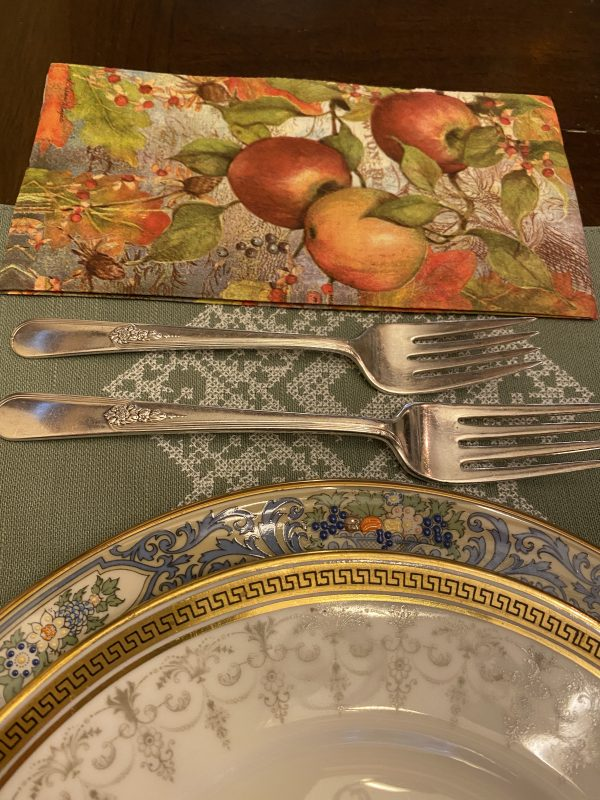 Fall Place Ssetting with vintage white china and Lenox China withvintage sliver