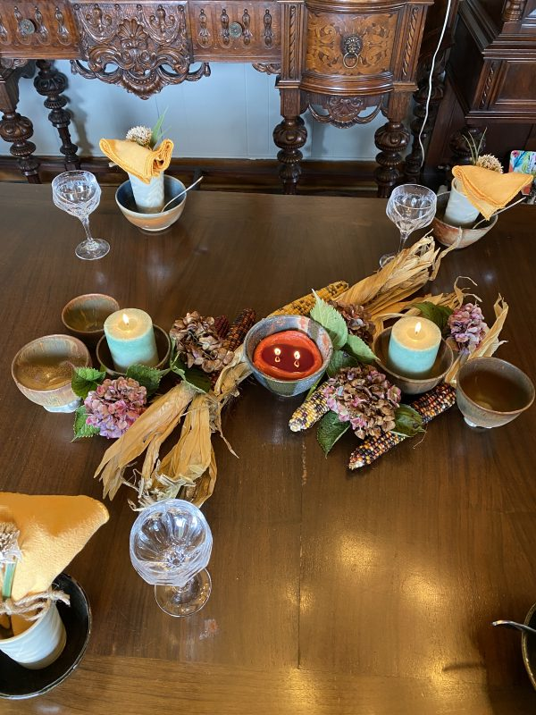 Rustic Centerpiece with Handthrown Pottery and Crystal