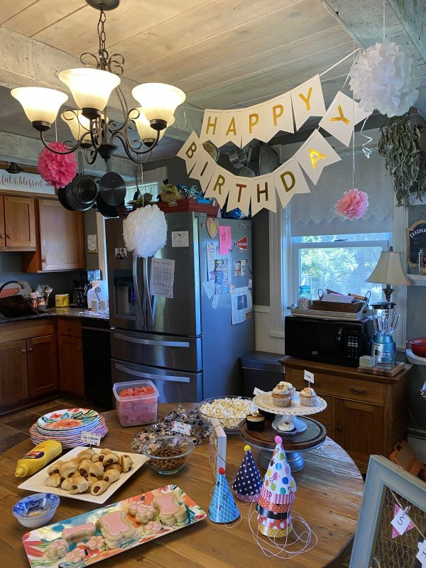 Happy Birthday Party Shadow! set up in the kitchen
