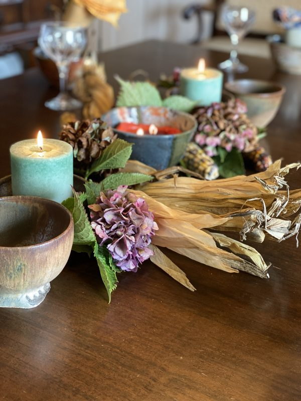 Rustic Autumn Centerpiece with Candles, Dried Hydrangeas and Indian Corn