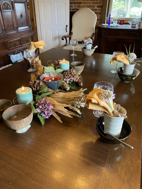Rustic Autumn Tablescape with Indian Corn, Dried Hydrangeas and Candles