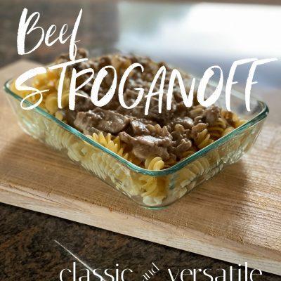Beef Stroganoff in pyrex dish