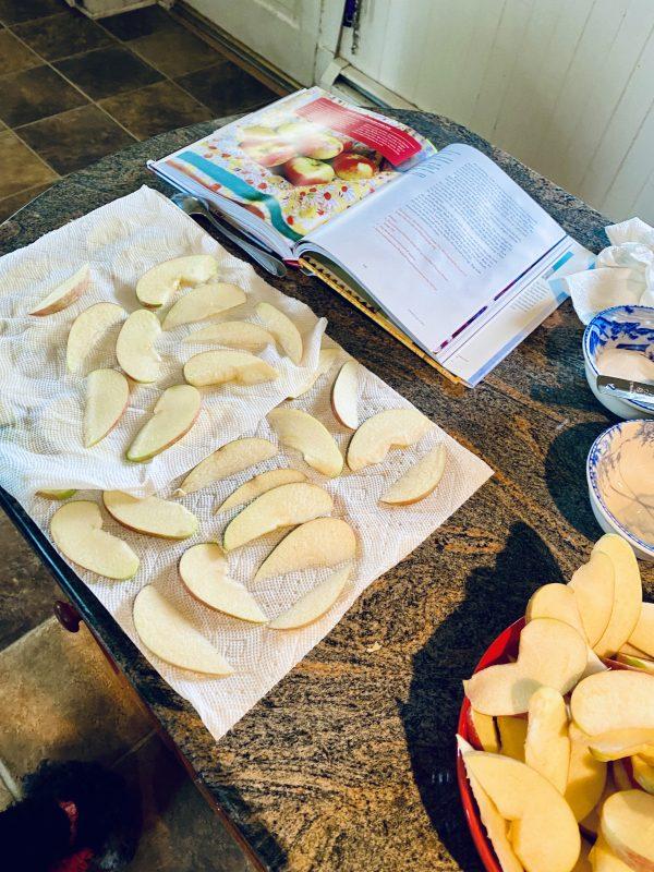 Meg Apple Pie Prepping the Apples